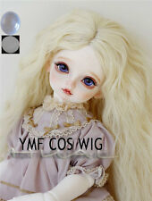 "6-7"" 1/6 BJD Blonde Long Curly Wave Wig LUTS Doll SD DZ DOD MSD Fairyland Hair L"