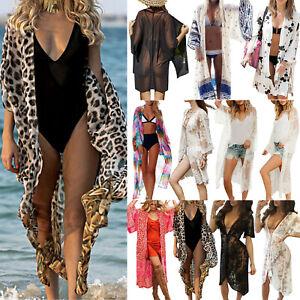 Women Summer Beach Long Cardigan Bathing Suit Bikini Cover Up Swimwear Swimsuit