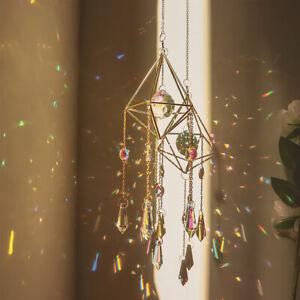 Natural Crystal Sun Catcher Prism Moon Star Suncatcher Rainbow Maker Hanging DIY