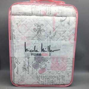2pc Nicole Miller Paris TWIN Quilt Sham Set Eiffel Tower Stamp Pink Lavender NEW
