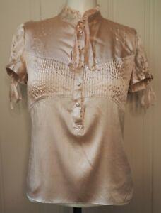 ARDEN B. Silk Blouse Ruffle Pleats Ribbons Light Dusty Pink Size S