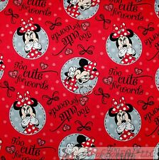 BonEful Fabric FQ Cotton Quilt Red Black White B&W Minnie Mouse Circle Flower Lg