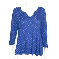 LUCKY BRAND Blue Ditsy Daisy Peplum Boho V-Neck Top size Medium /9673