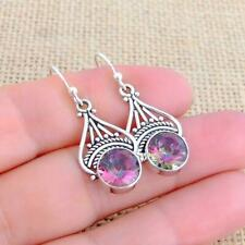 Ethnic Mystic Topaz 925 Silver Drop Earrings Indian Jewellery N2