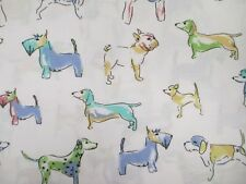 CYNTHIA ROWLEY White Blue Yellow Green Dog Deep Pocket Sheet Set - Twin