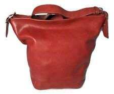 COACH Red Leather Bucket Legacy Duffle Shoulder Bag XL Hobo #9151