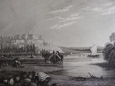 BELLE Gravure vue animée COIMBRA COIMBRE MONDEGO IBERIQUE IBERICO PORTUGAL 1860