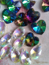 10 Pendant Heart Faceted Cut Glass Crystal Beads 10mm Rainbow AB Lustre Gls6