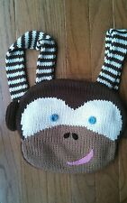 BlaBla Original Monkey Face Animal Shaped Kids Crochet Knit Backpack