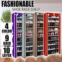 Portable 10Layer Shoe Rack Shelf Storage Closet Home Organizer Cabinet w/Cover