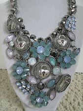 NWT Auth Betsey Johnson Lady Lock Key Flower Charm Large Bib Statement Necklace