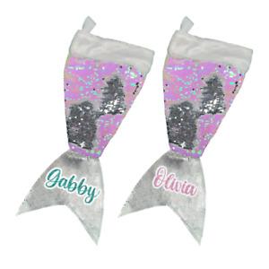 Personalised Christmas Stocking Mermaid Sequin Glitter Festive Xmas Kids Gift UK