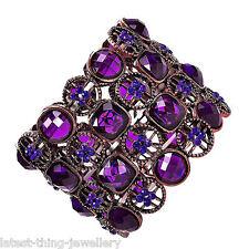 Purple Bracelet Diamante Stretch Cuff Design