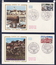 enveloppe 1er jour   paire Europa  Paris et Strasbourg   1977