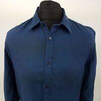 Calvin Klein Mens Thick Shirt MEDIUM Long Sleeve Blue Regular Fit  Cotton