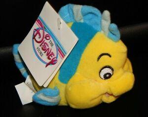"Vintage Little Mermaid FLOUNDER 7"" Mini Bean Bag Toy 1990's Disney Store W/ Tag"
