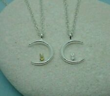 Silver Plated Moon Bunny Rabbit Reversible Pendant Necklace Gold Detail