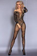 Tuta BodyStocking NURYA in Rete nera Ricamata Stile Body con Calze Autoreggenti