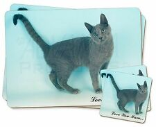 Russian Blue Cat Love You Mum' Twin 2x Placemats+2x Coasters Set in, AC-108lymPC
