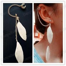 WHITE FEATHER crystal EAR CUFF PUNK CHAIN gold plated FEATHERS earcuff earrings