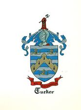 Great Coat of Arms Tucker Family Crest genealogy, would look great framed!