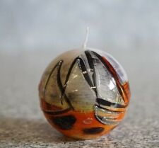 Kugelkerze orange/weiß maritim Boote, Ø 8 cm Deko Kerze Design Kugel Wachs Farbe