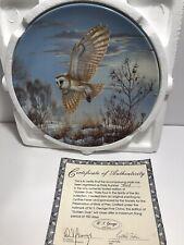 Cynthie Fisher *Golden Dusk* Bradford Exchange owl bird plate Mint w/box & Coa