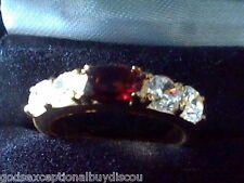MENS WOMENS GARNET & LCS DIAMOND WEDDING BAND RING SZ 6 SZ 7 SZ 8 SZ 10