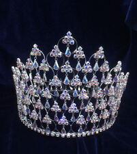 "Crystal Rhinestones AB.1 Row Rhineston At Bottom Silver Round Crown.5"" Height."