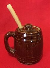 MONMOUTH POTTERY MINIATURE BARREL SHAPED SPOONER - CIRCA 1938