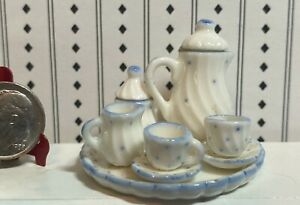 Vintage Dollhouse Miniature Coffee Service 9 pieces Blue Dots 1:12 Taiwan