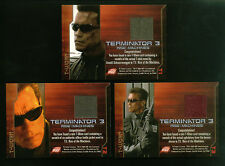 TERMINATOR 3 (Comic Images/2003): T-WORN COSTUME CARD SET (all 3) T1, T2, T3