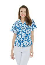 Women Ladies Aloha Shirt in Blue Luau