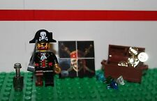 Pirate Captain W/ Treasure Chest Coins Gems Bottle & Sword With Skull Tile- Lego