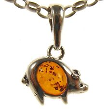 GIFT BOXED BALTIC AMBER STERLING SILVER 925 PIG PIGLET PENDANT JEWELLERY JEWELRY