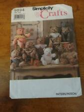 Simplicity Crafts sewing Pattern#9894-Stuffed Decorative Teddy Bears in 2 sizes