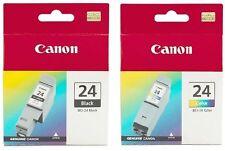 3 x Canon Genuine/Original Cartridges BCI-24Bk+2x 24C Black & Colour Ink 24 Bk C