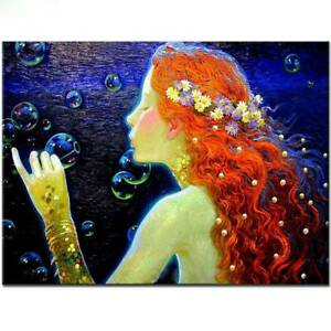 Mermaid Princess blowing bubbles 5D Diamond Painting Full Drill DIY Embroidery