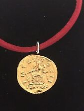 """Aureus Of Hadrian Coin WC59 Gold English Pewter On a 18"""" Red Cord Necklace"""