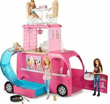 Barbie Camper Van Pink Pop Up RV 3 Floor Convertible Home w/ Bed, Bath & Pool