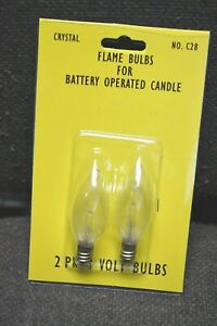 2-PK BATTERY OPERATED Flame CANDLE Light Bulb Replacement CHRISTMAS 3V E12 C28