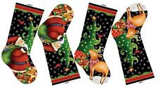 Northcott 25 Days til Christmas Fabric Stocking Panel Bears Santa Red Green Star