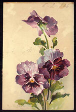 PANSIES embossed Flowers. Old Chromo Litho PFB Postcard artist C.KLEIN 1900s