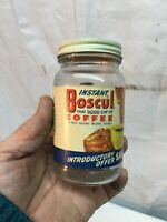 Vintage 2oz  Glass Boscul Instant  Coffee Canister  1950s Kitchen Coffee Can