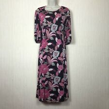 Kim&Co Floral Stretch Everyday Relax Fit Bohemian Dress Size M UK 14-16