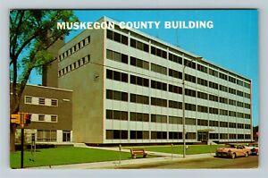 Muskegon MI-Michigan, Muskegon County Building, Chrome Postcard