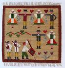 DANCE Vintage Polish Folk Art Textile Wall Hanging / Rug Hand Loomed Cepelia