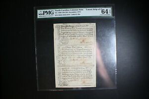 1771 Colonial Note North Carolina Uncut Strip of 3 PMG 64 EPQ Uncut Sheet LOOK!