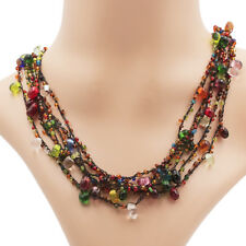 Glass Pearl Necklace Multicoloured with Toggle Lock