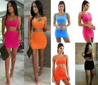 Womens Ladies Ribbed Crop Top Vest Mini Skirt Summer Co-Ord Two Piece Set